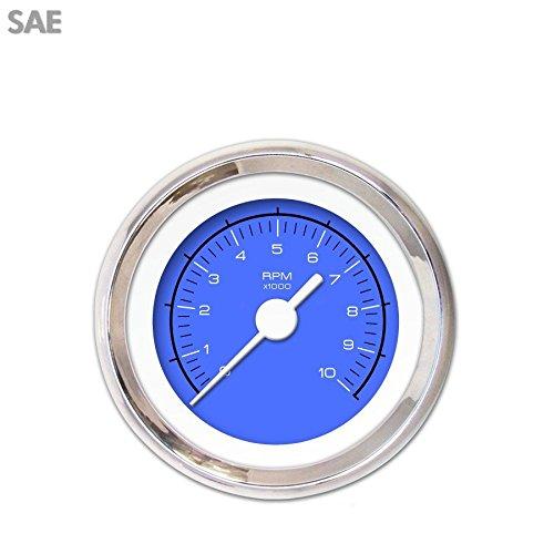 White Vintage Needles, Chrome Trim Rings, Style Kit DIY Install Aurora Instruments 3081 Competition Blue Tachometer Gauge