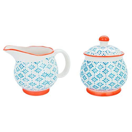 Nicola Spring Patterned Milk Jug 300ml & Sugar Pot/Bowl Set - Blue/Orange Print