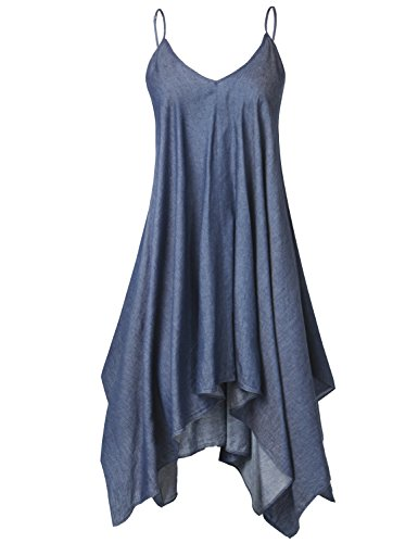 [Asymmetrical Hem Denim Color Mid Length Flowy Dresses] (Tie Dye Dress Costume)