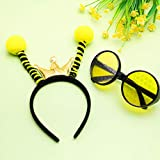 Bee Tentacle Headband Bee Antenna Hair Band and Bee Costume Glasses Bee Eyes Glasses for Halloween Accessory