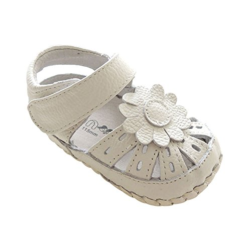 Kuner Baby Girls Genuine Leather Soft Bottom Anti-Slip Summer Prewalker Toddler Sandals (14cm(18-24months), White Flowers)
