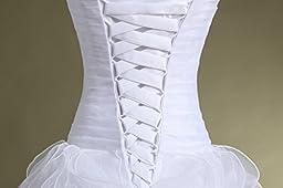 Bridal Mall Women\'s Organza Sweetheart Neckline Cascading Ruched Wedding Dress