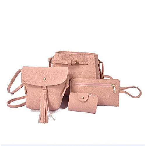 À Sacs Grande Main Bags for Fourre Gray De Tout PU main All Set Camel Pink Zipper à Rougir Red sac Pieces Purse Set Seasons Blushing Black Capacité QZTG Bag 4 Women's qgBnf