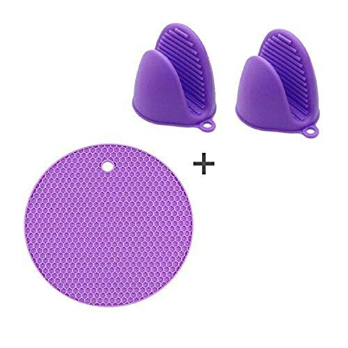 Buycitky 2 Pcses Heat Resistant Silicone Mini Cooking Oven Mitts Glove for Kitchen, Bonus/1 Set Silicone Potholder Hot Pads, Silicone Pinch Grip and Pot Holder Set for Kitchen