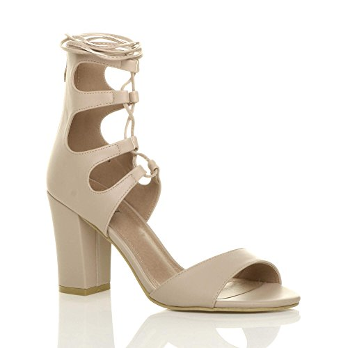 Ajvani Nude Matte up Shoes Wrap Around Tie Lace Heel Sandals Womens Size High Ankle 1r1FC7