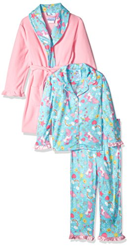 Bunz Kidz - Albornoz para niña con diseño de Unicornio y arcoíris, Juego de 2 Piezas de Pijama, Rosado, 2 Años