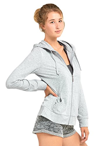 Sofra Women's All Year-Long Lightweight Hoodie Jacket (M, H.Gry) by Sofra (Image #3)