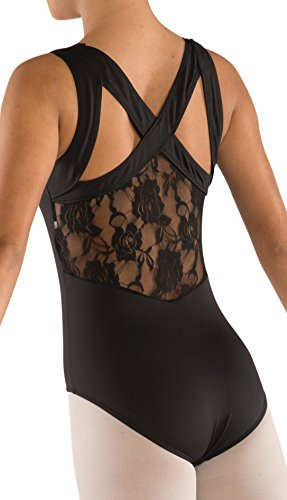 Women's Tank Leotard with Lace back Black (Small Adult)