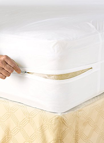 Full Size Bed Deluxe Vinyl Zippered Mattress Cover Keeps Out Bed Bugs & Dust Mites Mildew Resistant Water & Stain Resistant