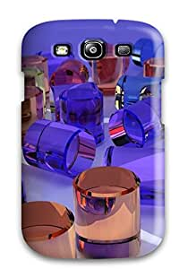 Rugged Skin Case Cover For Galaxy S3- Eco-friendly Packaging(3d Cylinders)
