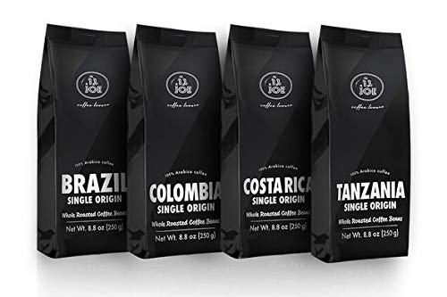 Bean Pack Variety - Single Origin Whole Bean Coffee Variety Pack - Costa Rica, Brazil, Colombia and Tanzania Roasted Coffee Beans from Cafe Joe USA, Four 250g (8.8 Oz) Bags - Light and Dark Roast