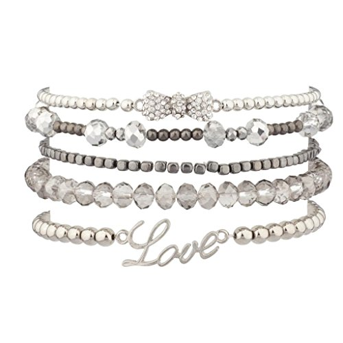 Lux Accessories Pave Bow Love Beaded Arm Candy Stretch BFF Bracelet Set