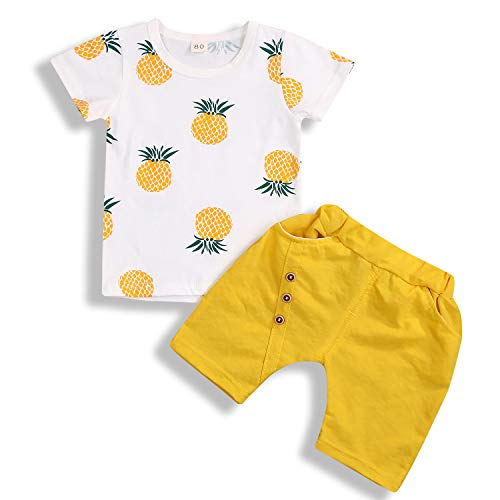 Toddler Kid Baby Boy Girl Summer Outfits Pineapple Shirt Fashion Shorts Casual Clothes Set (2-3 Years, Yellow)