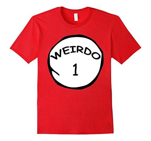Mens Clever Weirdo 1 & Weird 2 Funny Group Matching Halloween Tee XL Red (Weird Couples Costumes Halloween)