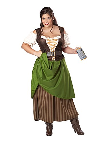 California Costumes Plus Size Tavern Maiden Costume, Olive/brown, 2XL -