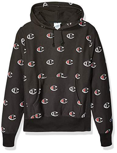 Champion LIFE Men's Reverse Weave Pullover Hood-Print, Scribble Logo Black, XX-Large