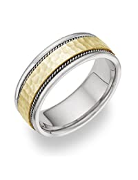 Two-Toned 14K Gold Hammered Wedding Band Ring