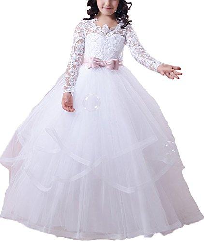 BessDress Lace Bodice Flower Girl Dress for Weddings First Communion Dresses ()