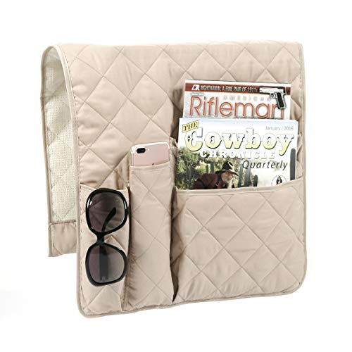 Arm Chair Loveseat - FlyingBean Anti-Slip Armrest Caddy Pocket Organizer for Sofa Couch Chair Recliner Loveseat, Storage for Phone, Book, Magazines, Armchair Remote Control Holder, 35 x 17 inches(Beige)