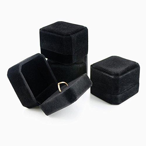 Weoxpr Black Velvet Ring Box Wedding Ring Bearer Pack of ()
