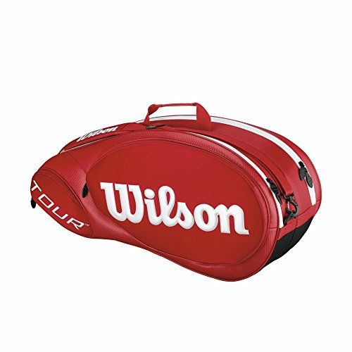 Wilson Uni Tour Molded Racketbag 6er Schlägertaschen, Rot, 750 x 40 x 33 cm, 70 Liter