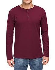 Boisouey Men's Casual Slim Fit Long Sleeve Henley T-Shirts Cotton Shirts