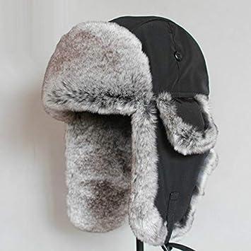 8d393799d Amazon.com: Blue Stones Bomber Hat Rex Rabbit Fur Trapper Hats Thick ...