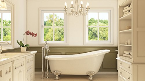 Luxury 67 inch Clawfoot Tub with Vintage Slipper Tub Design in White, includes Polished Chrome Ball and Claw Feet and Drain, from The Glendale Collection by Pelham & White (Image #1)