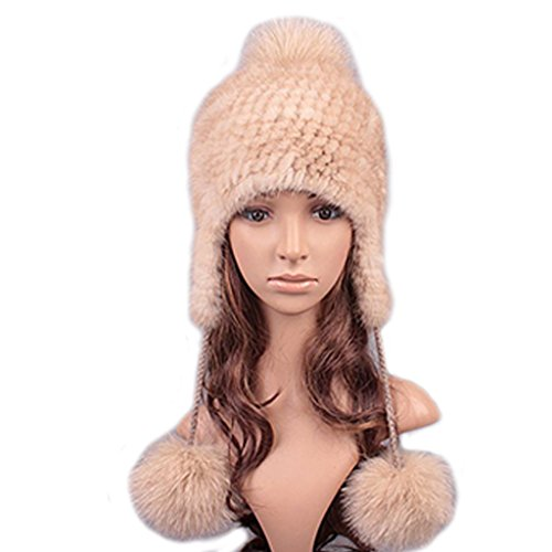 UK.GREIFF Women's Fashion Warm Stretch Mink Fur Bomber Hat Winter Cap Beige
