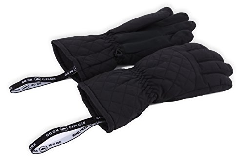 Womens Winter Snow & Ski Gloves – Designed for Women's Skiing, Snowboarding, Shredding, Shoveling, Snowballs – Waterproof, Windproof Nylon Shell, Thermal Insulation & Synthetic Leather Palm – DiZiSports Store