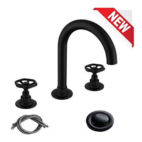 Cheapest Prices! RKF Solid Brass Two Handle Widespread Bathroom Sink Faucet with Pop-up Drain with o...