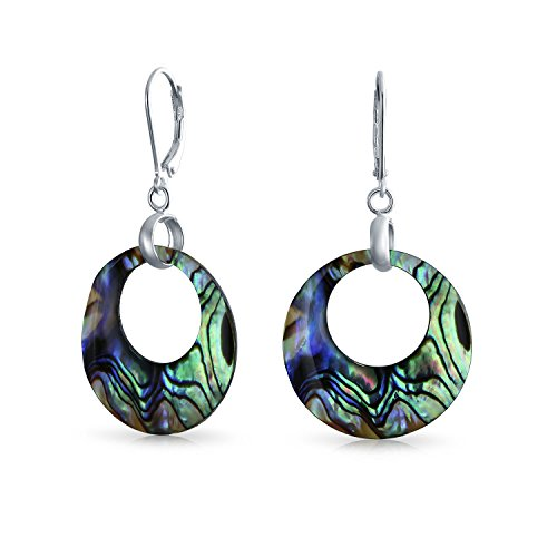 (Rainbow Iridescent Abalone Round Open Circle Hoop Leverback Earrings For Women 925 Sterling Silver)