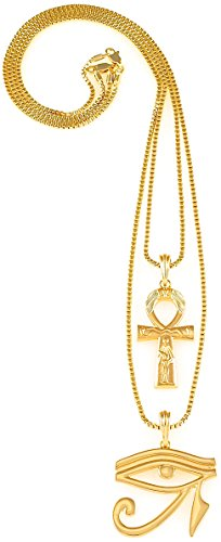 GWOOD Ankh With Eye Of Horus Two Necklace Set New Gold Color Pendants Box Link Chains - Eye Pendant Set