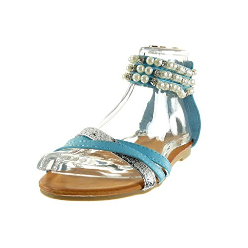 Angkorly - Chaussure Mode Sandale femme peau de serpent perle bijoux Talon bloc 1 CM - Bleu
