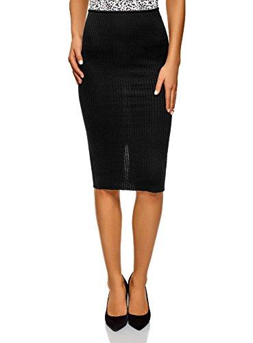 oodji Ultra Femme Jupe  C?tes Taille lastique Noir (2900n)