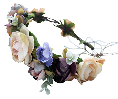 Vivivalue Adjustable Flower Headband Floral Garland Crown Hair Wreath Flower Headpiece Halo Boho with Ribbon Wedding Party Festival Photos Brown -
