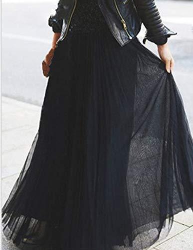 Soire de Fox ulein t Jupe Fr Longue Noir Unie Plisse Jupes Casual de Couleur Plage Party Mode Femmes PzqwdpnxR