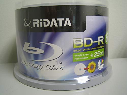 RiData 25GB BD-R 6X Blu-ray Disc, Inkjet Printable - 50-Pack (90L7E3RRDA015) RITEK