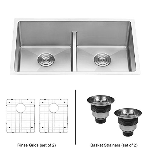 Garbage Disposal Double Sink - Ruvati 32-inch Low-Divide Undermount Tight Radius 50/50 Double Bowl 16 Gauge Stainless Steel Kitchen Sink - RVH7411