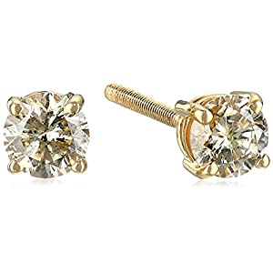 Amazon Collection AGS Certified 14k White Gold Diamond with Screw Back and Post Stud Earrings (J-K Color, I1-I2 Clarity)