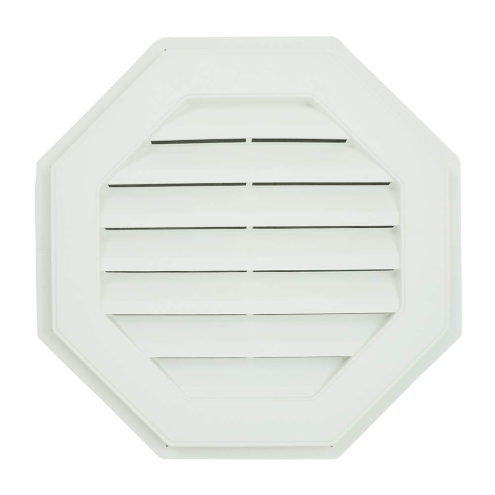 Suntown 22'' Octagon Functional Gable Vent with Screen - 2 Piece Construction - White by Suntown