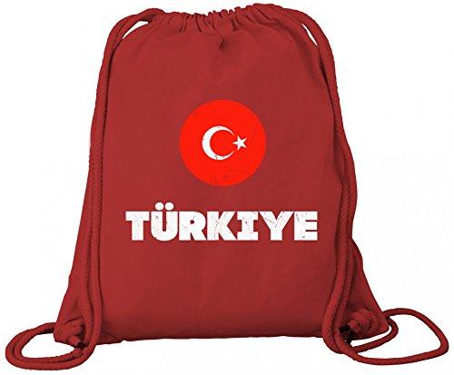 ShirtStreet Wappen Türkiye Ankara Länder Premium Bio Baumwoll Turnbeutel Rucksack Stanley Stella Flagge Türkei Red aTtiZL9B