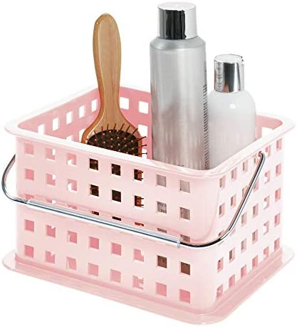 iDesign Spa Plastic Storage Organizer Basket with Handle for Bathroom, Health, Cosmetics, Hair Supplies and Beauty Products, 9.25″ x 7″ x 5″ – Blush Pink