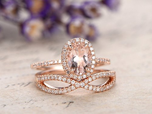 18k Two Piece Setting - 2 Pieces Wedding Ring Set,6x8mm Oval Cut Natural Pink Morganite Gemstone 4 Claw Prong Halo Retro Engagement Ring Half Eternity Curved Diamond Stackable Stacking Bridal Proposal Promise Band