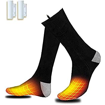VALLEYWIND Heated Socks, Electric Socks Footwear with Pair Rehargeable Lithium Battery Cotton Heated Socks Keep Forefoot and Toes Warm Heating Times Last 5-9 Hours Suitable Outdoor Hunting