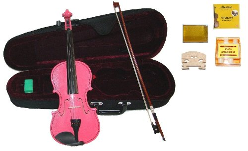 GRACE 1/8 Size Pink Acoustic Violin with Case and Bow+Rosin+2 Sets Strings+2 Bridges+Tuner