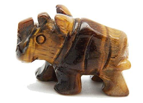 "Fundamental Rockhound Products: 1 1/2"" Carved Rhino/Rhinoceros Gold Tiger Eye Hand Carved Gemstone Crystal with Information Card"