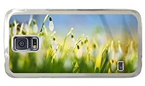 Hipster Samsung Galaxy S5 Case uncommon cover white snowdrops PC Transparent for Samsung S5