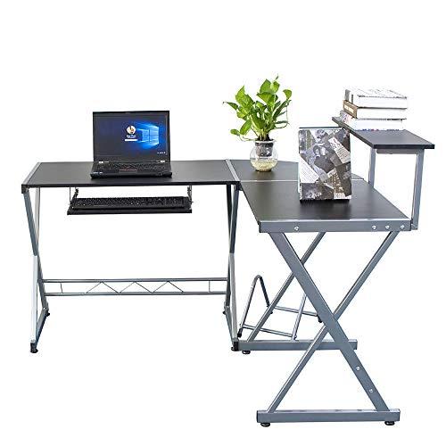 Price comparison product image L-Shaped Corner Desk PC Wood Laptop Table Home Office Study & Top Shelf