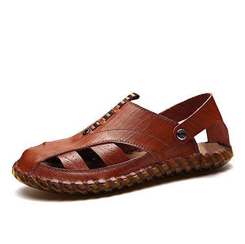 Sandali sandali EU brown chiusi in pelle uomo Reddish uomo pelle sandali Size antiscivolo Qingqing in sudore Sandali Brown da 40 Reddish Color traspiranti assorbenti da dBF04wH